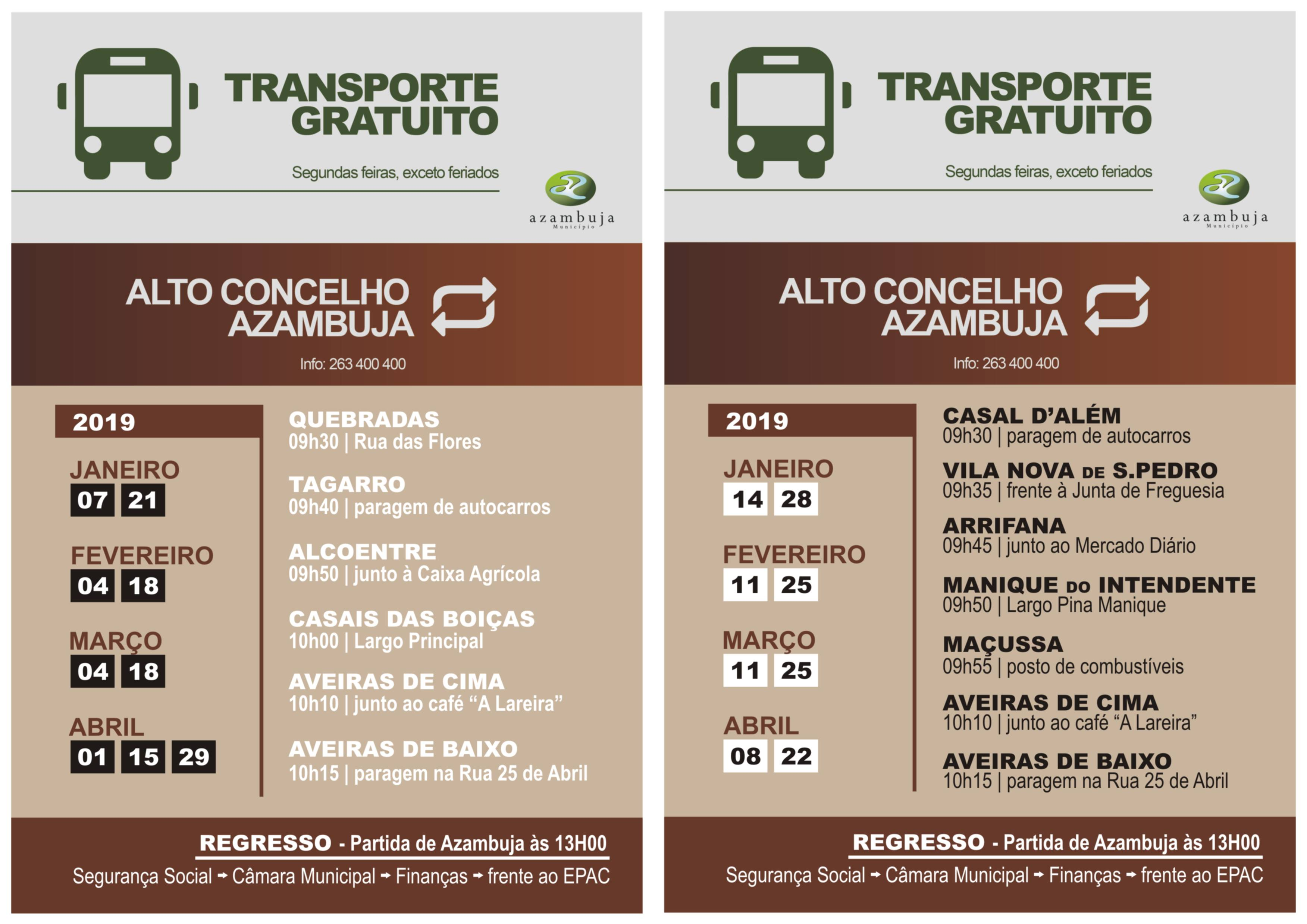 transporte gratuito 2019 jan abr